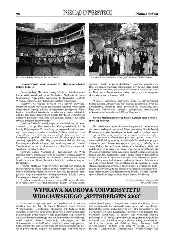 Przegląd Uniwersytecki 09/2003 - Robert Tarka