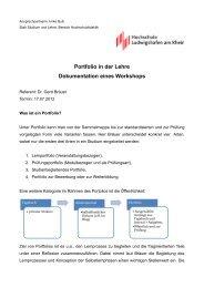 Portfolio in der Lehre Dokumentation eines Workshops