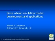 Sirius wheat simulation model: development and applications