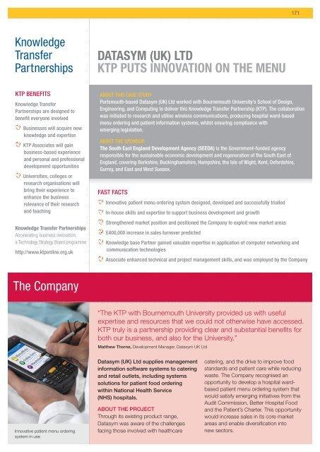 The Company DATASYM (UK) LTD KTP PUTS innovATion on ThE ...