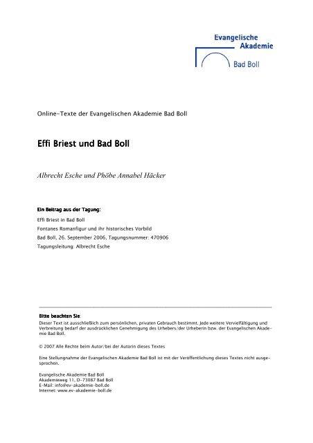 Effi Briest und Bad Boll Effi Briest und Bad Boll - Evangelische ...