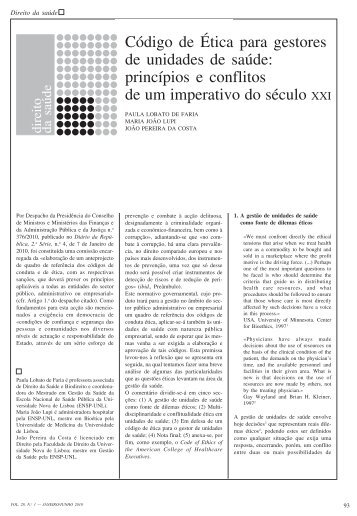 Código de Ética para gestores de unidades de saúde - Escola ...