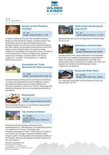 11. Juni 2010 Besuch auf dem Pferdehof Hochfilzer Wilder Kaiser ...