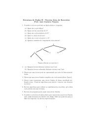 Estrutura de Dados II - Terceira Lista de Exerc´ıcios Prof. Luis ...