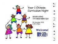 Year 1 Chinese Curriculum Night - Renaissance College