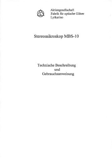 MBS-10 Handbuch deutsch - Mikroskopfreunde-Nordhessen