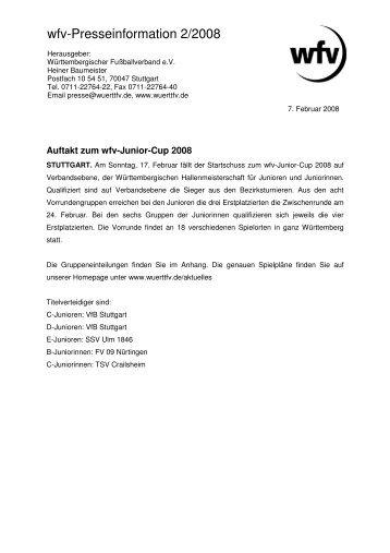 wfv-Presseinformation 2/2008 - bei der Fussballjugend Bezirk Donau