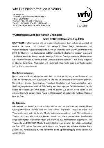 wfv-Presseinformation 37/2008 - Jugendfussball im Bezirk Donau