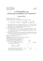 3.¨Ubungsblatt zur - Institut für Mathematik