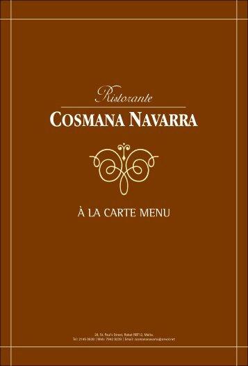 À la carte Menu - Ristorante Cosmana Navarra