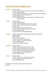 Her finner du en oversikt over faste aktiviteter på ... - Kirkens Bymisjon