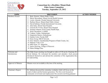 September 2012 - consortium for a healthier miami-dade