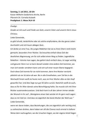 Sonntag, 3. Juli 2011, 18 Uhr Kaiser-Wilhelm-Gedächtnis-Kirche ...
