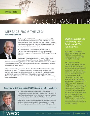 March 2013 WECC Newsletter - Western Electricity Coordinating ...