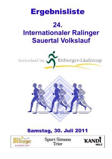 24. Internationaler Ralinger Sauertal Volkslauf - FSV Ralingen