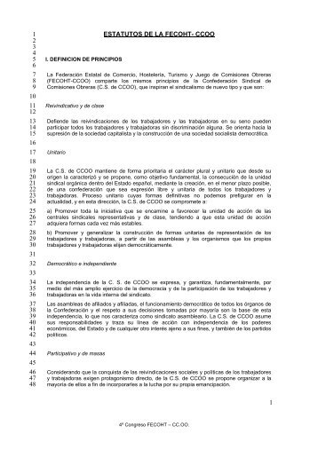 1 ESTATUTOS DE LA FECOHT- CCOO 1 2 3 4 5 6 7 8 9 10 11 12 ...