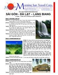 SÀI GÒN - ĐÀ LẠT – LANG BIANG - Morning Sun Travel