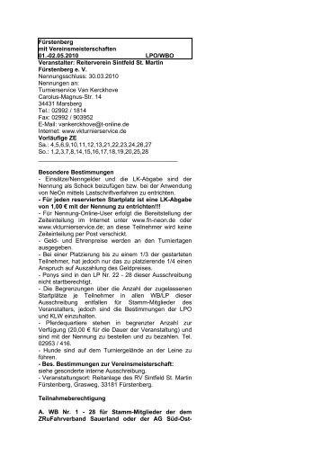 Ausschreibung - Turnierservice Van Kerckhove