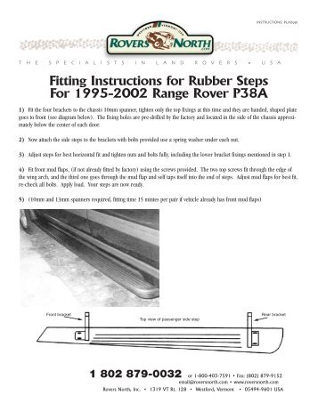 Fitting Instructions for Rubber Steps For 1995-2002 Range Rover ...