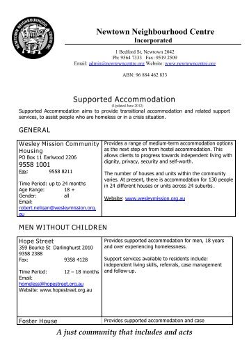 Supported Accommodation - Newtown Neighbourhood Centre
