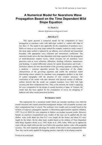 A Numerical Model for Nearshore Wave Propagation Based on the ...