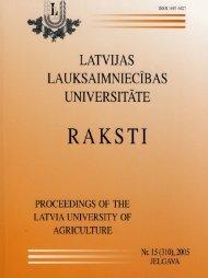 Latvijas Lauksaimniecības universitātes raksti nr. 15 (310) , 2005 ...