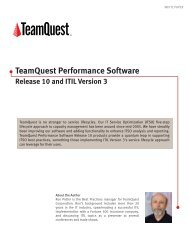 TeamQuest Performance Software: Release 10 and ITIL Version 3