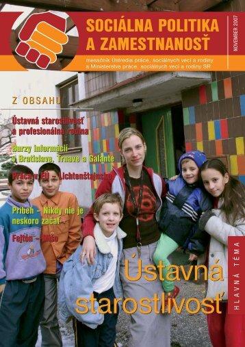 SOCIÁLNA POLITIKA A ZAMESTNANOSŤ - Ústredie práce ...