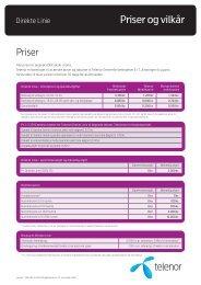 Priser og vilkår for Direkte Linie - Telenor