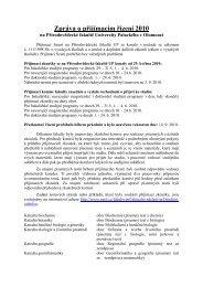 Zpráva o přijímacím řízení 2010 - Univerzita Palackého v Olomouci
