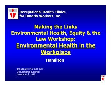 Environmental Health in the Workplace - Canadian Environmental ...