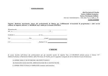 Modulo domanda - Provincia di Viterbo