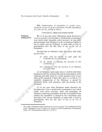 ordinance making power - Laws of Bangladesh - Ministry of Law ...