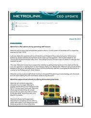 August 06, 2012 Project Updates Metrolink to offer options during ...