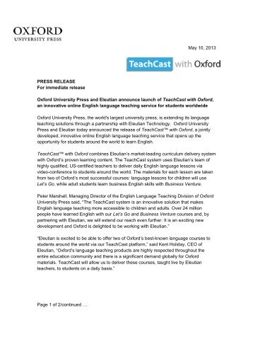 May 10, 2013 PRESS RELEASE For immediate release Oxford ...