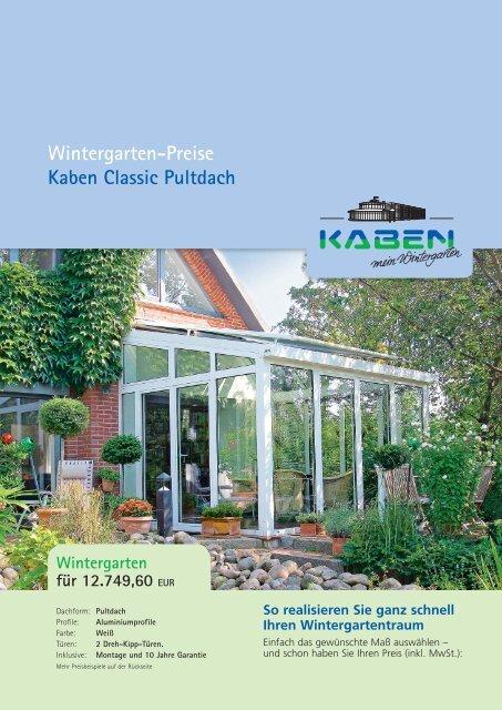 Wintergarten Preise Kaben Classic Pultdach Kaben Mein