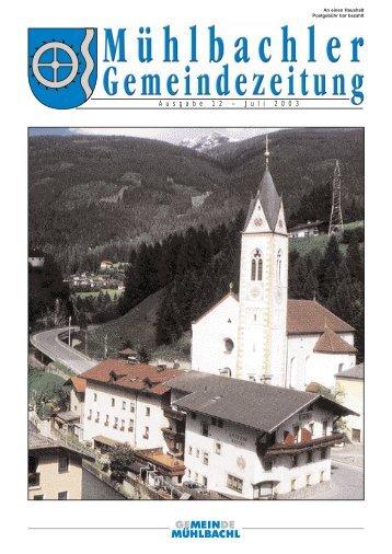 Gemeindezeitung Nr. 13 vom Juli 2003 - Mühlbachl - Land Tirol