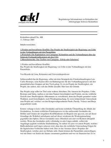 Kolumbien-aktuell No. 400 / 11. Februar 2005 - ask! Arbeitsgruppe ...