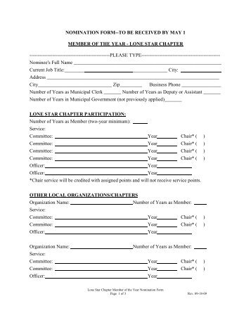 Member of the Year Nomination Form - tmca lone star chapter