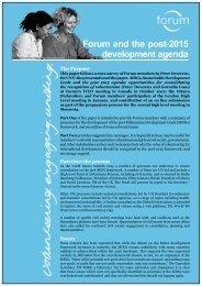 Forum and the post-2015 development agenda (pdf)