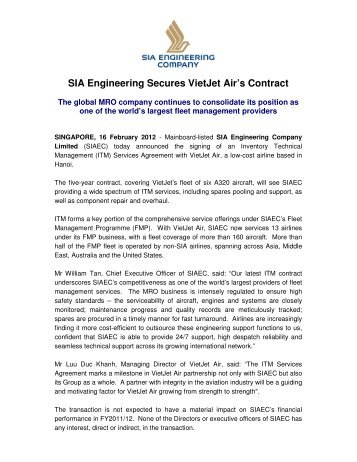 Sia Engineering Secures S 166 Million Cebu Air Contract
