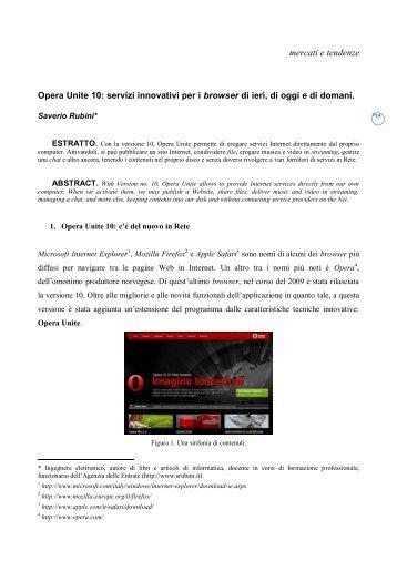 mercati e tendenze Opera Unite 10: servizi innovativi per i ... - Icomit.it