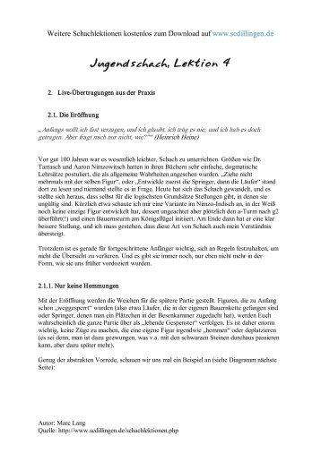 Jugendschach - Kompletter Schachkurs für Jugendliche, Lektion 4