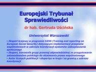 Europejski Trybunał Sprawiedliwości - Uniwersytet Warszawski