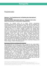 finden Sie die komplette Presseinformation (PDF, 0 - Hansgrohe