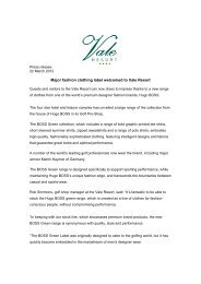 Download the Hugo Boss press release here - Vale Resort