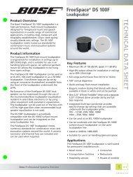 Bose FreeSpace DS 100F Technical Data Sheet