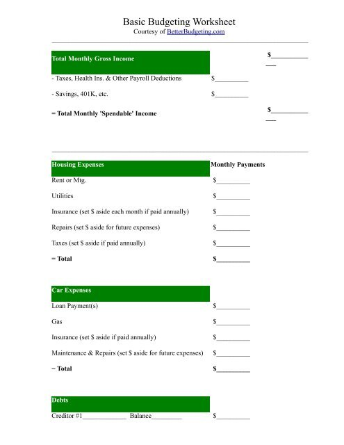 photograph relating to Free Printable Budget Sheets referred to as Cost-free Printable Price range Worksheet versus