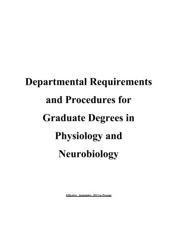 Graduate Program Guidelines - Physiology and Neurobiology ...