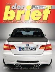 Spring 2011 BAYERISCHE - Genesee Valley Chapter BMW CCA